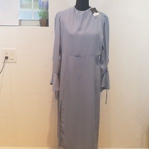 Topshop light blue long dress open back nwt